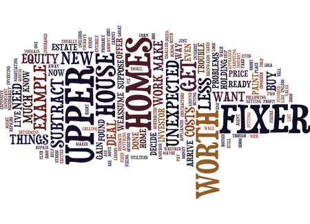FIXER UPPER HOMES ZIJN KLAAR Tekst Achtergrond Word Cloud Concept