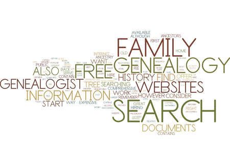 FREE GENEALOGY SEARCH Text Background Word Cloud Concept