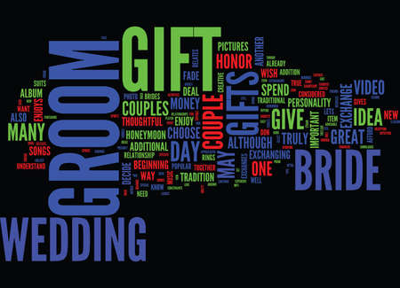 GIFT IDEAS FOR THE BRIDE TO GIVE TO THE GROOM THEY LL LOVE THIS ONE Text Background Word Cloud Concept