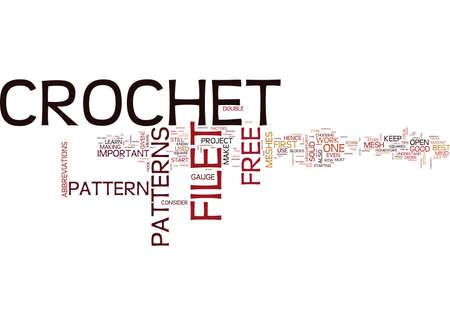 フィレ肉の無料かぎ針編みパターン テキスト背景単語雲概念  イラスト・ベクター素材