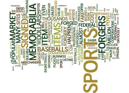 FORGED SPORTS MEMORABILIA Text Background Word Cloud Concept Ilustração