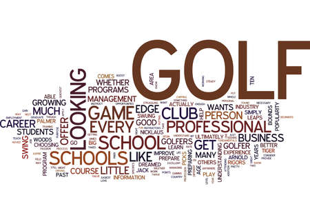 novice: GOLF SCHOOLS CAN BOOST YOUR GAME Text Background Word Cloud Concept