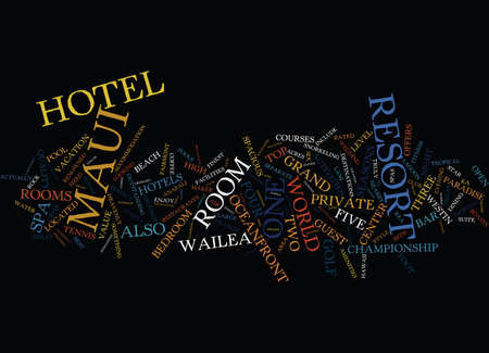 FIVE STAR MAUI HOTEL HEAVEN Text Background Word Cloud Concept