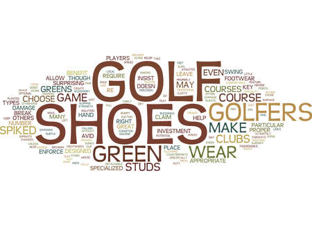 GOLF SHOES PROS AND CONS Text Background Word Cloud Concept