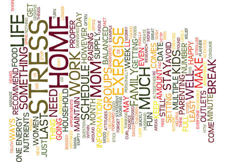 FIVE WAYS TO DE STRESS THE STAY AT HOME MOM Text Background Word Cloud Concept