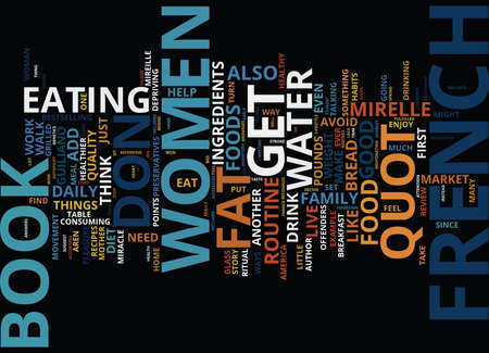 FRENCH WOMEN DON T GET FAT BOOK REVIEW Text Background Word Cloud Concept