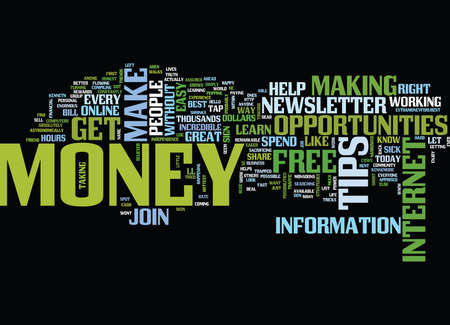 FREE MONEY TIPS NEWLETTER Text Background Word Cloud Concept