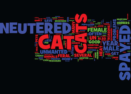 GOOD REASONS TO HAVE YOUR CAT SPAYED OR NEUTERED Text Background Word Cloud Concept