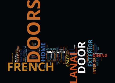 フレンチドア対ラナイのドアあなたホーム最高テキスト背景単語雲の概念に合うもの
