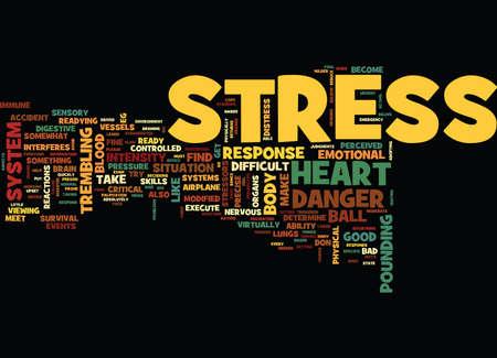 좋은 스트레스와 나쁜 스트레스 텍스트 배경 단어 구름 개념 일러스트