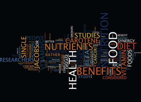 FOOD SYNERGY THE KEY TO A HEALTHY DIET Text Background Word Cloud Concept