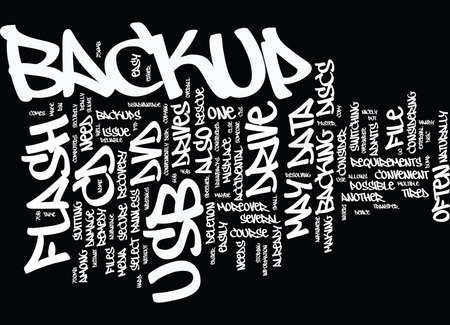 FLASH USB DRIVES BACKUP EASILY CONVENIENTLY AND SECURELY Text Background Word Cloud Concept