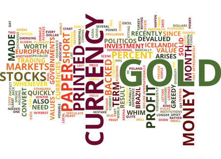 GOLD A SOLID INVESTMENT Text Background Word Cloud Concept