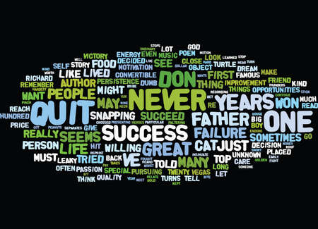 FROM FAILURE TO VICTORY THE CAT S OUT OF THE BAG Text Background Word Cloud Concept