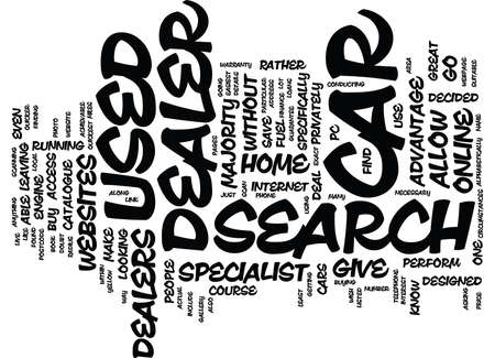 GO ONLINE FOR YOUR USED CAR DEALER SEARCH Text Background Word Cloud Concept