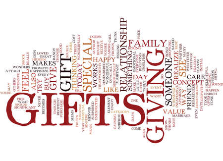 GIFTS MAKE OTHERS FEEL SPECIAL Text Background Word Cloud Concept Illustration