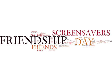 FRIENDSHIP DAY FREE SCREENSAVERS ON FRIENDSHIP Text Background Word Cloud Concept Иллюстрация