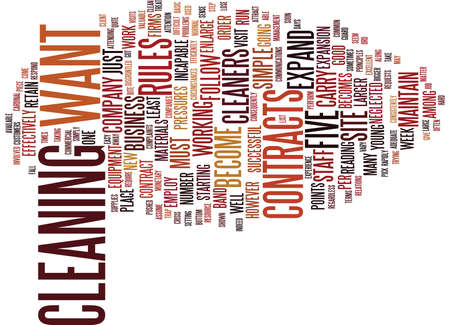 FIVE SIMPLE RULES FOR COMMERCIAL CLEANERS TO FOLLOW Text Background Word Cloud Concept Illustration