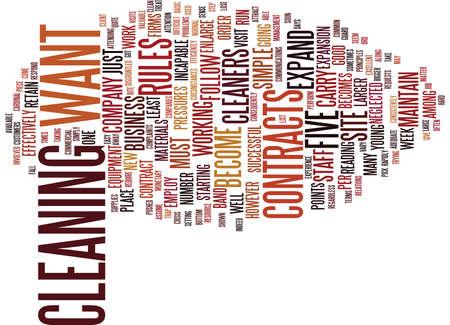VIJF EENVOUDIGE REGELS VOOR COMMERCIËLE REINIGERS OM Tekstachtergrond Word Cloud Concept TE VOLGEN Stockfoto - 82574288