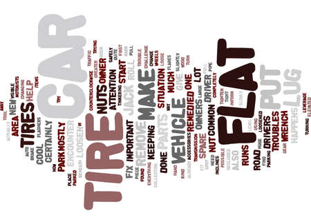 FLAT TIRE FIX IT Text Background Word Cloud Concept