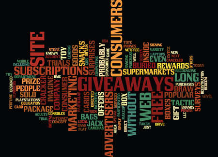 GIVEAWAYS BY WEB SITE DRAW IN CONSUMERS Text Background Word Cloud Concept