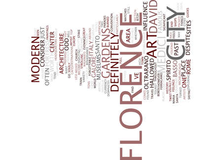 FLORENCE ITALY OF DAVID AND SUCH Text Background Word Cloud Concept
