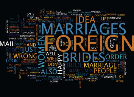 FOREIGN BRIDES Text Background Word Cloud Concept