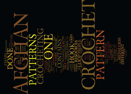 FREE CROCHET AFGHAN PATTERNS Text Background Word Cloud Concept Illustration