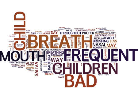FREQUENT BAD BREATH IN CHILDREN Text Background Word Cloud Concept
