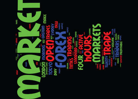 FOREX MARKET HOURS Text Background Word Cloud Concept