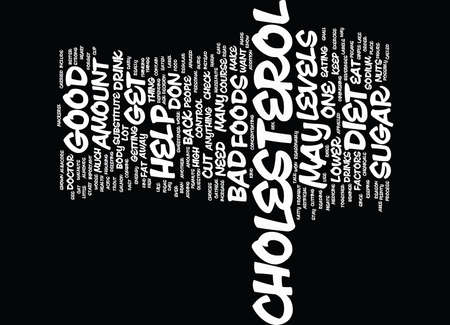 figuring: GOOD AND BAD CHOLESTEROL Text Background Word Cloud Concept Illustration