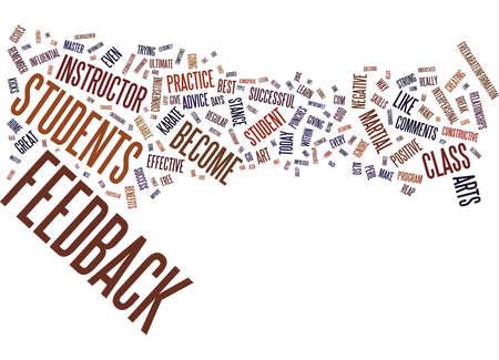 VOOR KARATE-INSTRUCTEURS DE KUNST VAN EFFECTIEVE FEEDBACK IN KLASSE Tekstachtergrond Word Cloud Concept Stock Illustratie