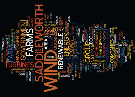 concerted: FOR OR AGAINST WIND FARMS Text Background Word Cloud Concept Illustration