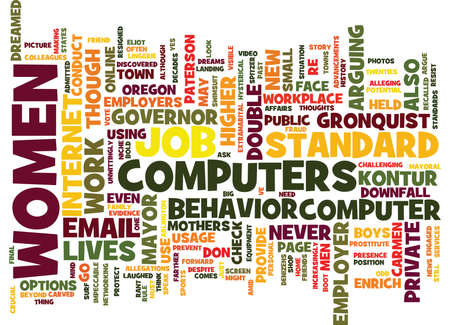 FOR WOMEN ONLY YOUR COMPUTER USAGE COULD COST YOU YOUR JOB Text Background Word Cloud Concept