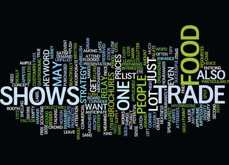 delectable: FOOD TRADE SHOWS Text Background Word Cloud Concept Illustration