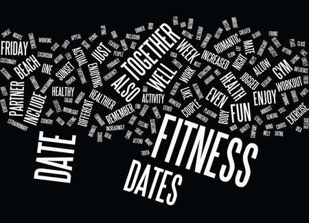 FRIDAY NIGHT FITNESS DATES Text Background Word Cloud Concept 向量圖像
