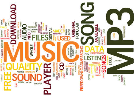 FREE MP PLAYER SONG Text Background Word Cloud Concept