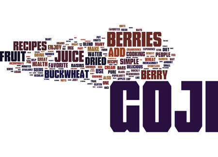 GOJI RECIPES Text Background Word Cloud Concept