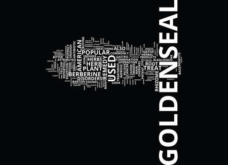 GOLDENSEAL Text Background Word Cloud Concept Ilustração