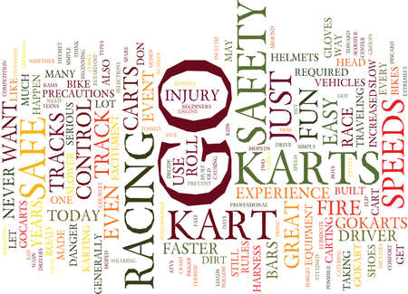 GO KARTS ARE FUN BUT ARE THEY SAFE Text Background Word Cloud Concept