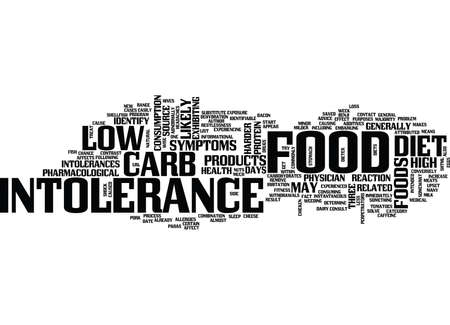 FOOD INTOLERANCE AND LOW CARB DIETS Text Background Word Cloud Concept