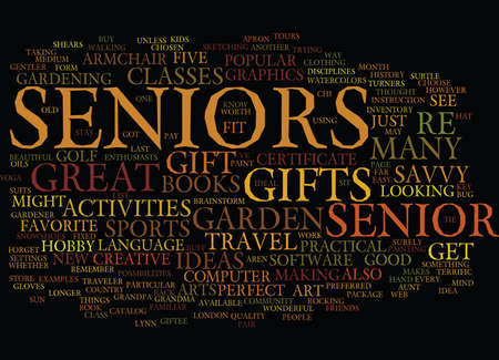GIFTS FOR SENIORS Text Background Word Cloud Concept