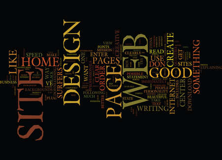 GOOD WEB SITE DESIGN Text Background Word Cloud Concept