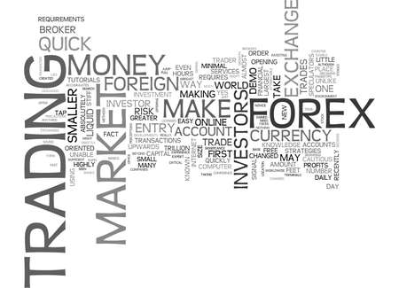 FOREX CAN YOU MAKE SOME QUICK MONEY Text Background Word Cloud Concept