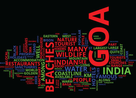 GOA HOLIDAYS Text Background Word Cloud Concept