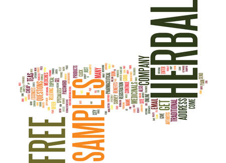 FREE HERBAL SAMPLES Text Background Word Cloud Concept Illustration