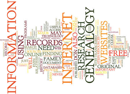 FREE GENEALOGY Text Background Word Cloud Concept Illustration