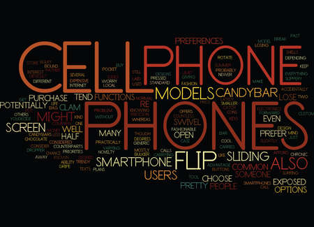 FLIP CELL PHONES Text Background Word Cloud Concept