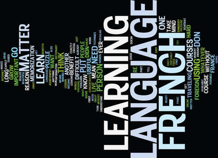 FRENCH COURSE ONLINE Text Background Word Cloud Concept