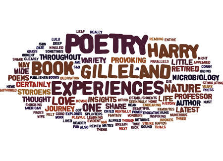 GILLELAND POETRY STOROEMS AND POEMS REVIEW Text Background Word Cloud Concept Illustration